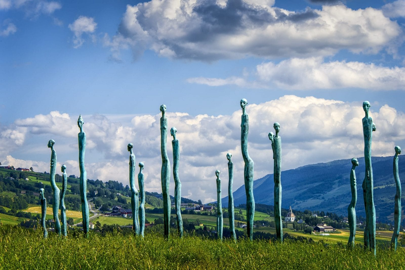 This is a scenic shot of the Lillehammer Flokk sculptures.