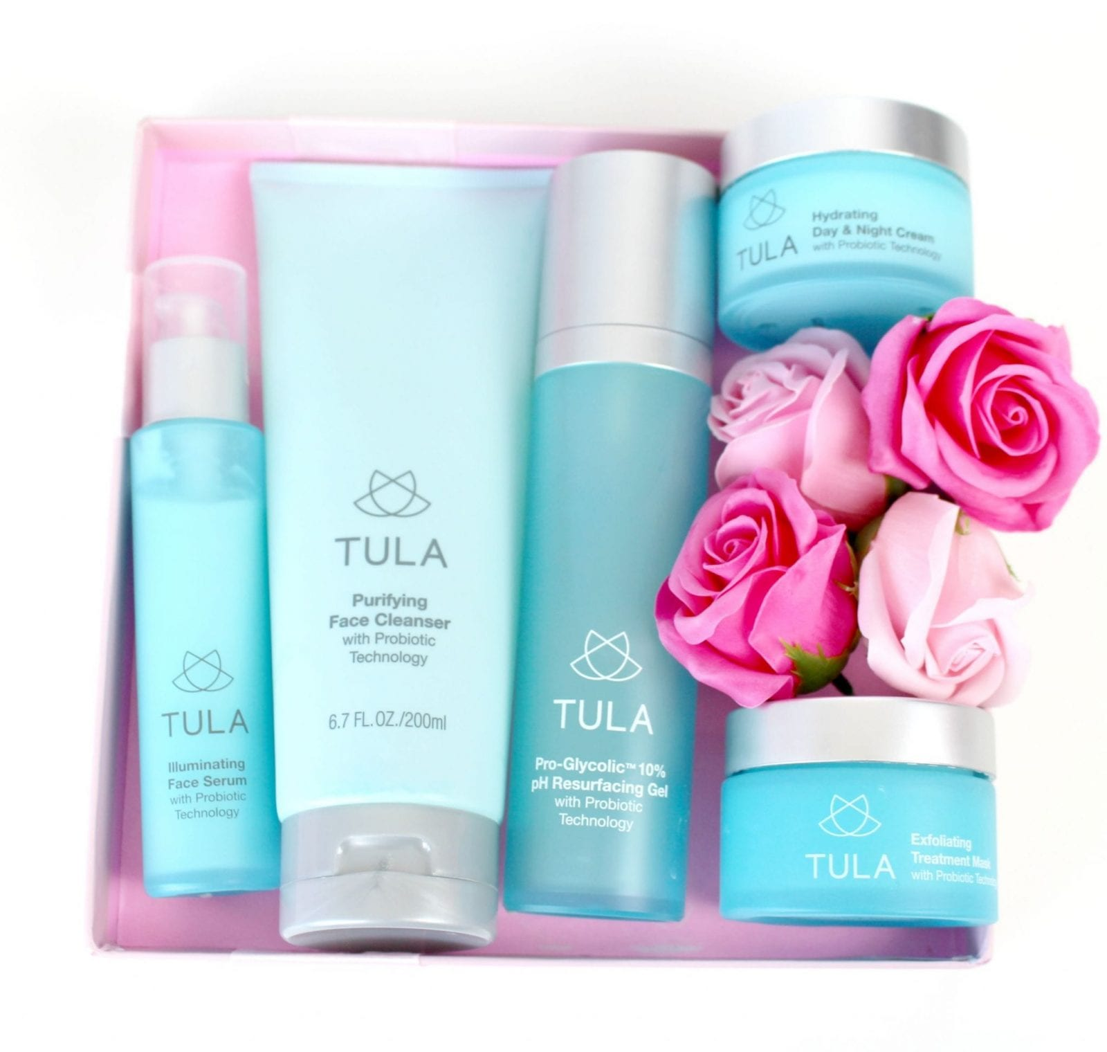 This is a close up of the Tula Skin Care collection for a well-rounded skin care routine.