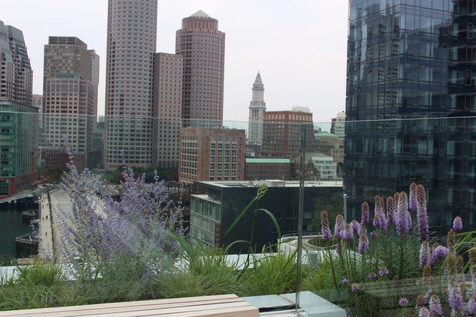 This is the YOTEL Boston rooftop terrace view.