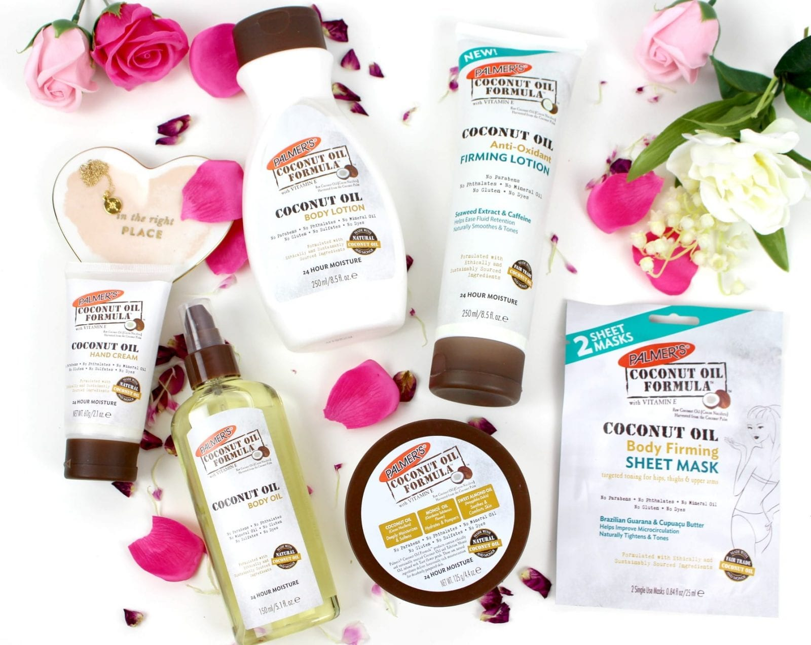 This is a beautiful flatlay of the Palmer's Coconut Oil product line, including the new firming products.