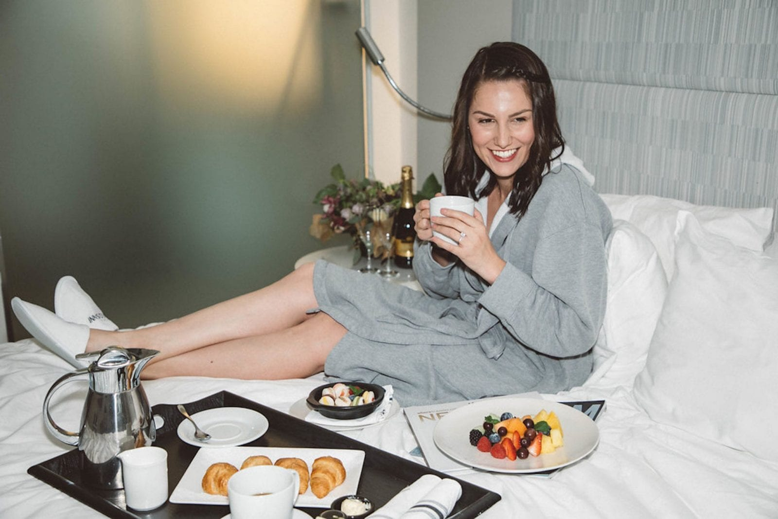 Enjoying Breakfast in Bed and Laughing at The Innside by Melia in New York City.