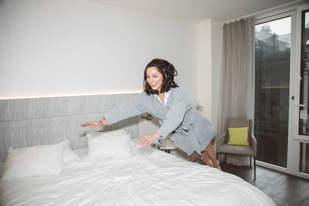 Jumping On the Bed at The Innside by Melia in New York City.