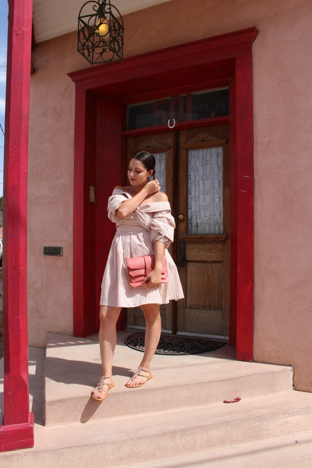 #ChrisellexJOA pink off the shoulder plaid dress in Barrio Viejo Tucson