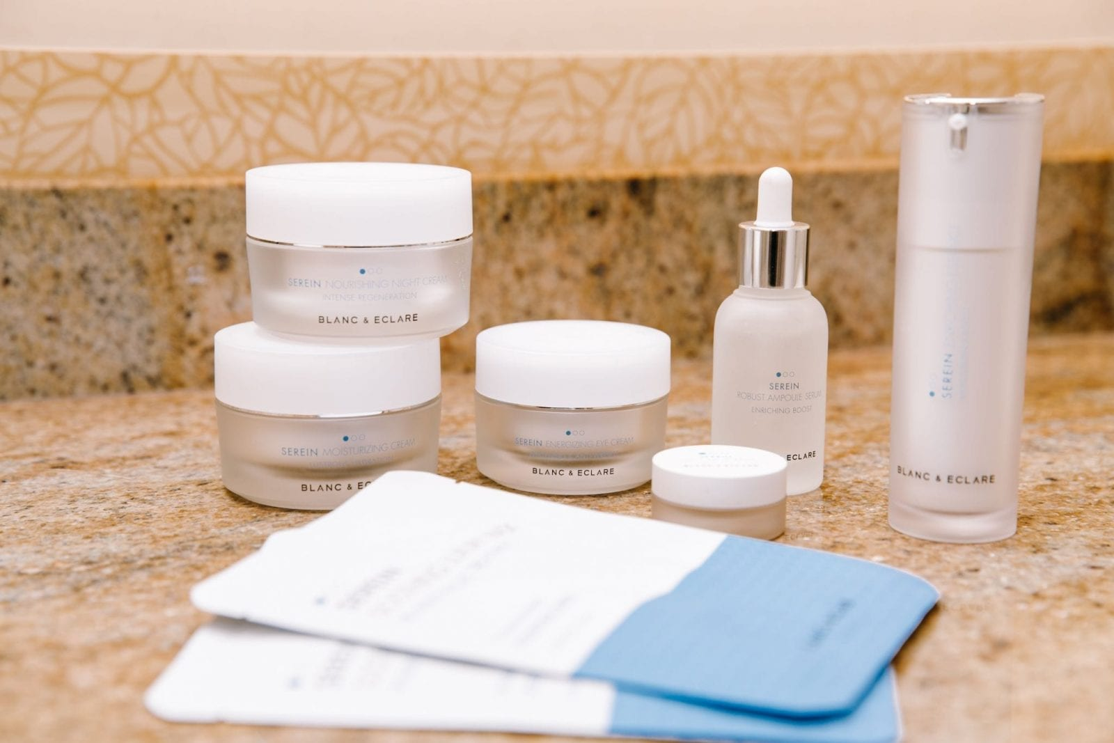 This is a photo of the entire Blanc and Eclaire skincare line, which I use on a daily basis.