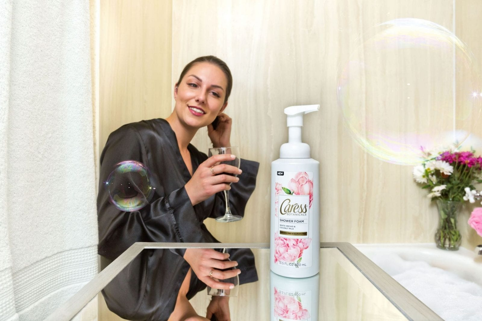 Using a New Caress Foaming Body Wash