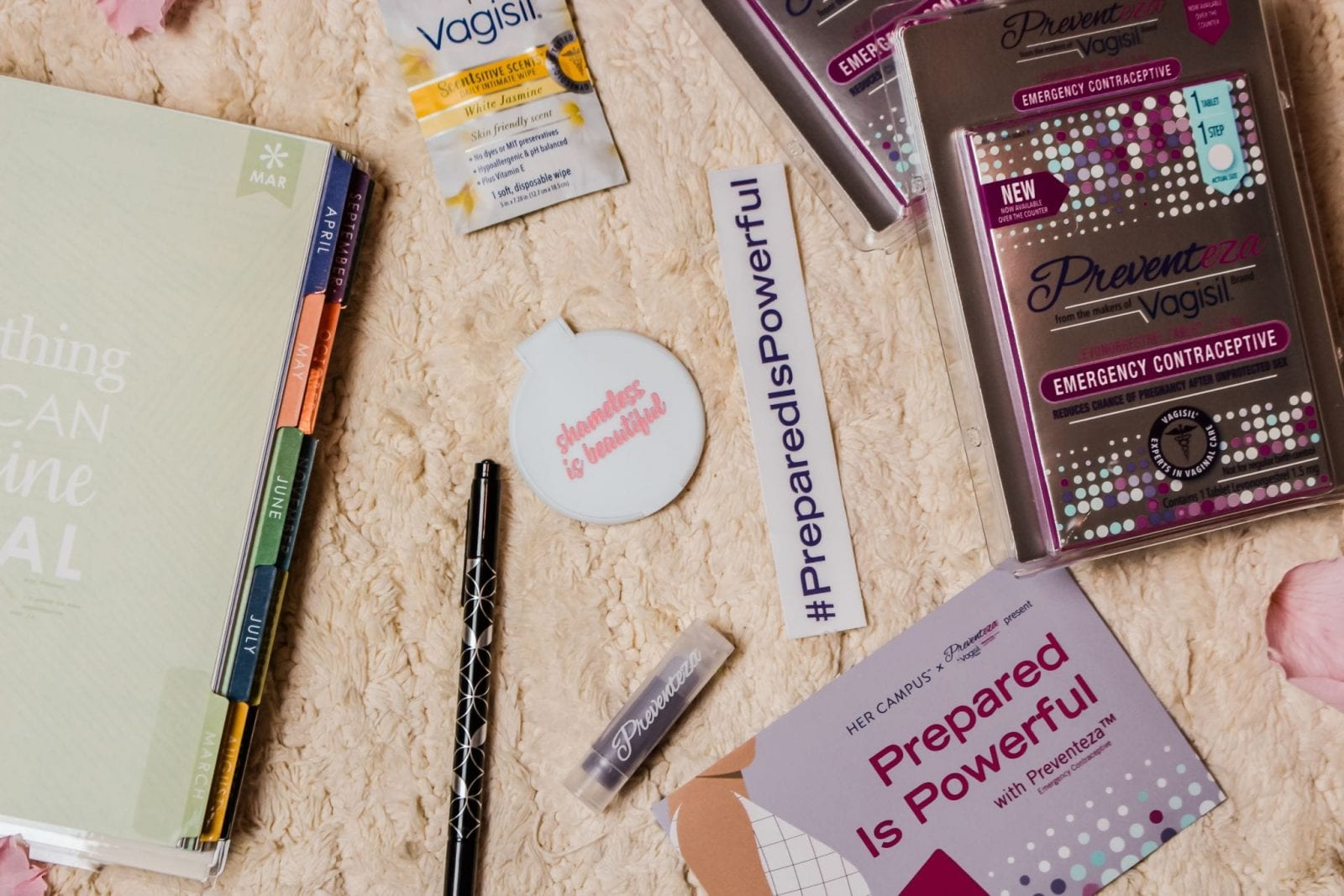 This is a flat lay shot of Being Prepared with Vagisil®'s new emergency contraceptive product.