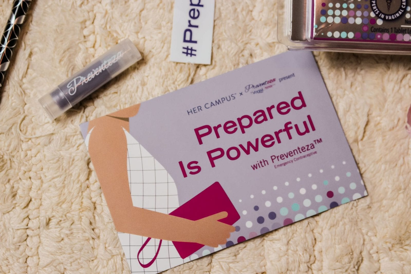 This is a flat lay shot of the new packaging and information from Being Prepared with Vagisil®'s emergency contraceptive product.