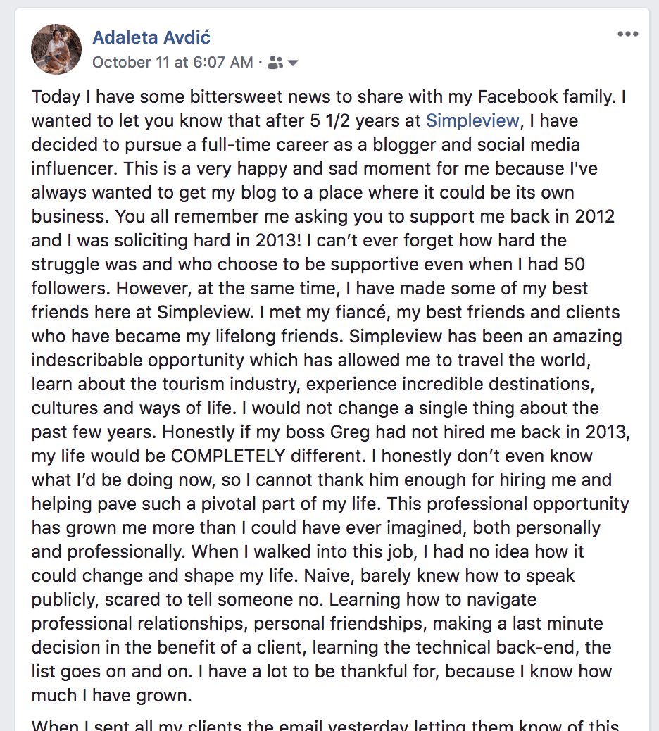 This is a screenshot of a Facebook post I made announcing a career change.