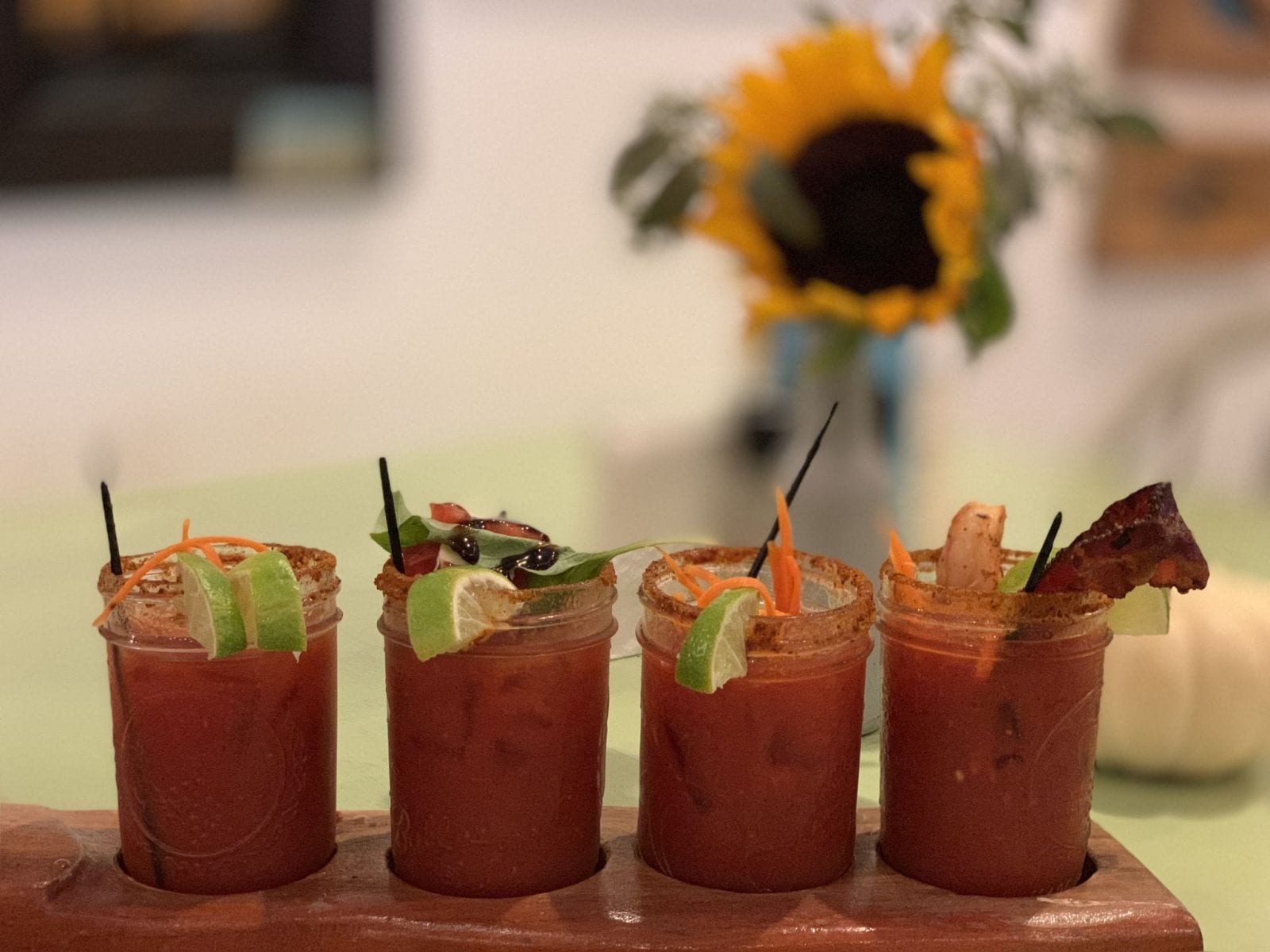 This is a close up of a Bloody Mary flight at Simple Eats in Virginia Beach.