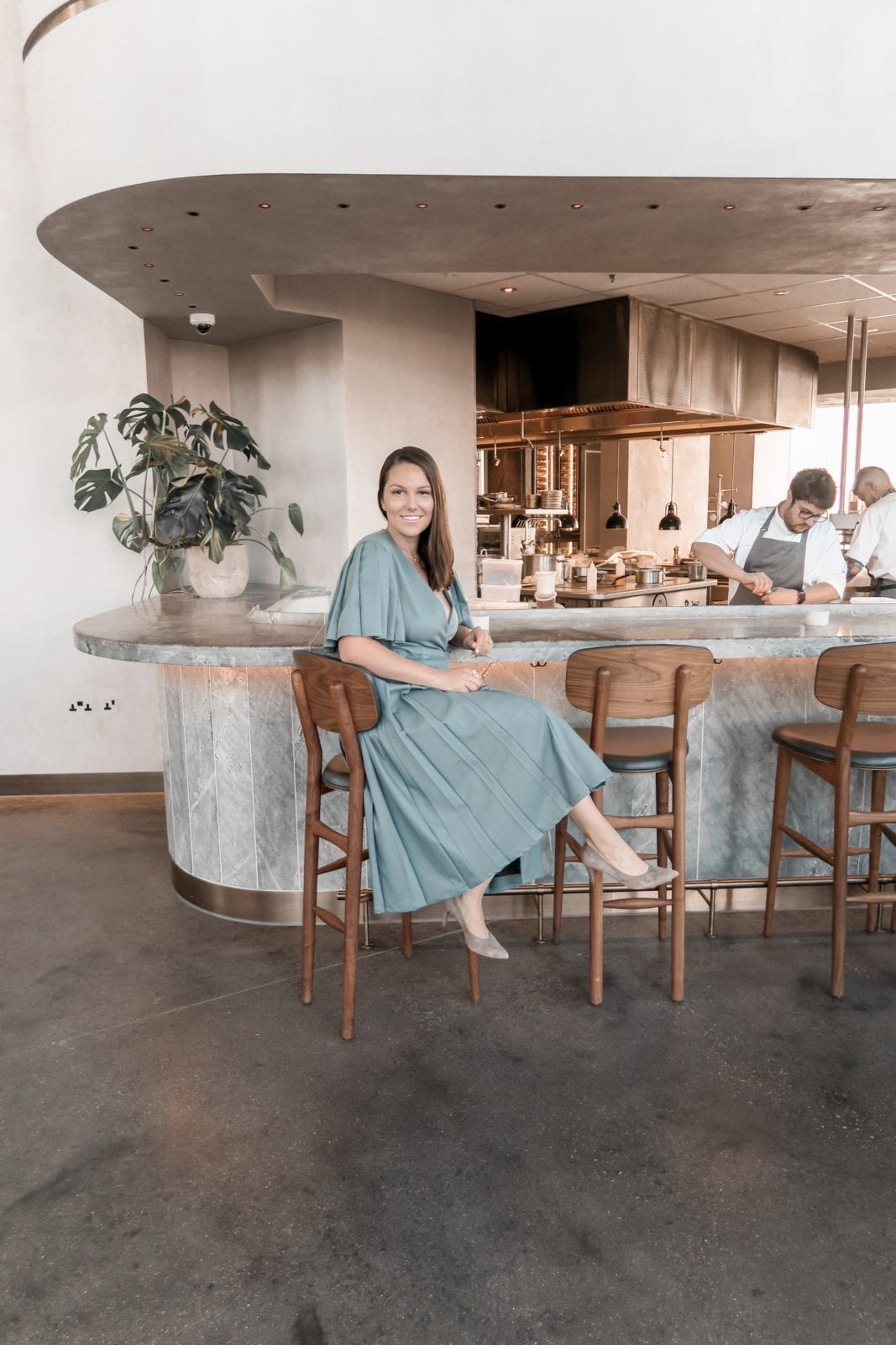 Sitting at the bar at The Stratford London wearing a gorgeous Shopyte dress from the new collection.