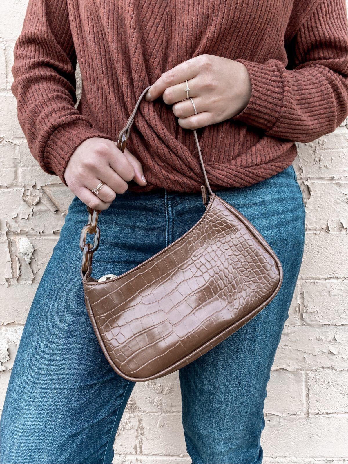 This is a close up shot of the Studio 33 shoulder bag in the brown shade.