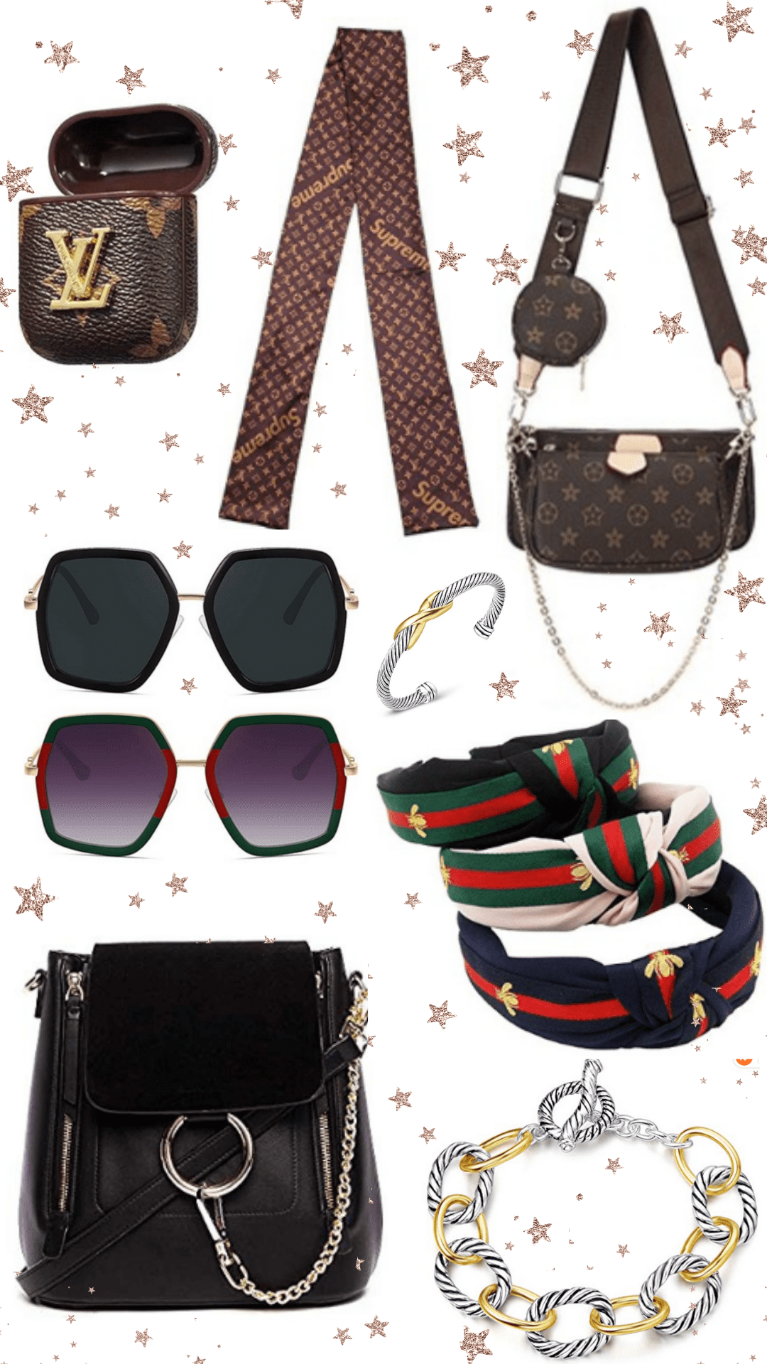 this image is filled with dupes from amazon prime. There is a Louis Vuitton inspired airpod case, gucci dupe sunglasses, gucci inspired headbands, a chloe dupe backpack, two david yurman dupe bracelets and a Louis Vuitton inspired bag and scarf.