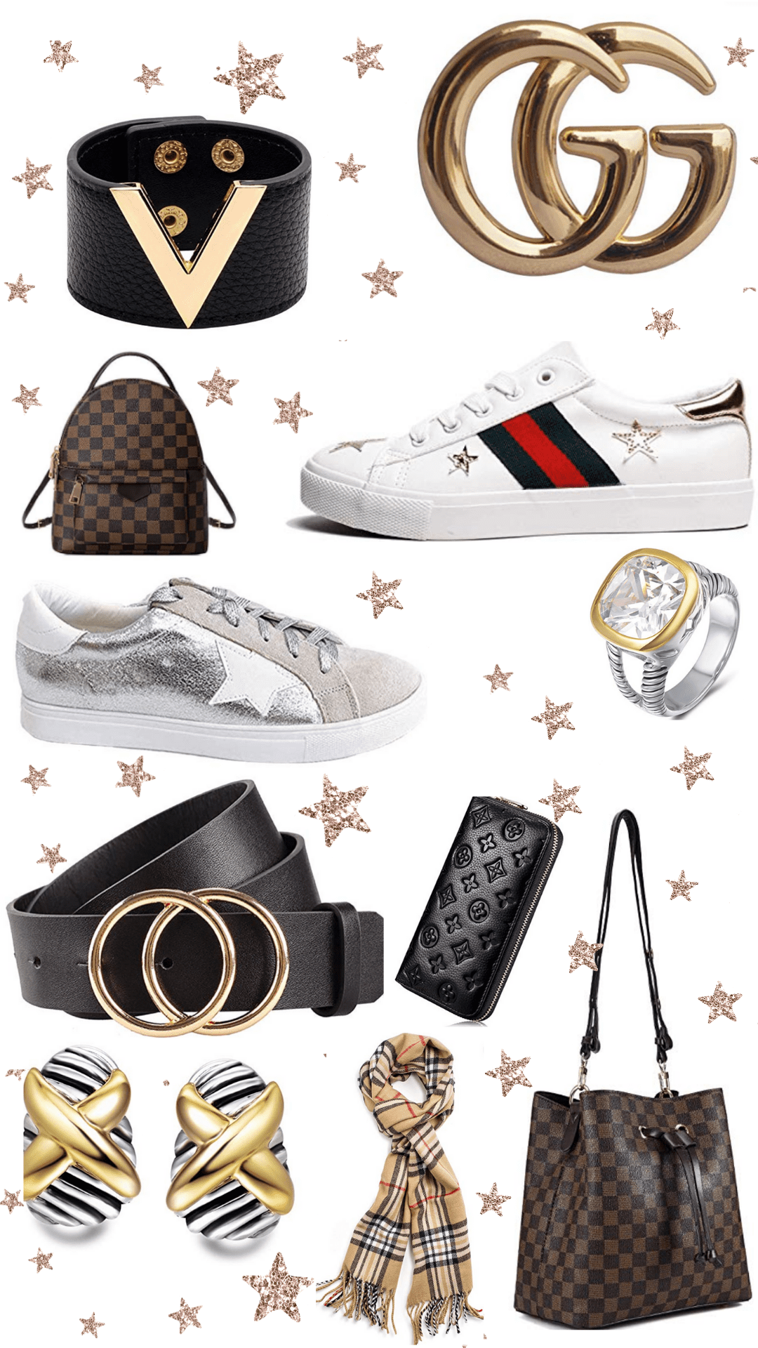 In this image, we found several different dupes from Amazon and added them in a collage. Dupes from Louis Vuitton, Burberry, Gucci, David Yurman, Golden Goose, and more. From jewelry to accessories, there is an array of different dupe finds.