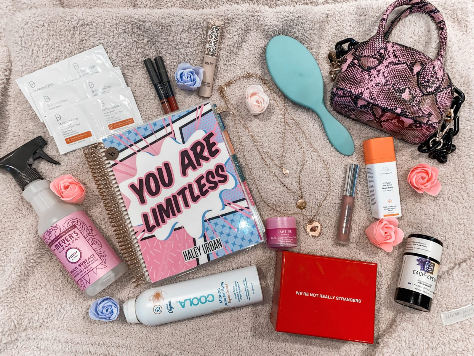 This image shows some of Haley and Adaleta's favorite things, in a flat lay. There's Coola mineral sunscreen spray, Mrs. Meyers Peony Multi-Surface cleaner, Drunk Elephant C-Firma, Each & Every Natural Deodorant, and a gorgeous pink snakeskin handbag, a wet hair brush, Dr. Dennis Gross Peel Pads, an Erin Condren planner and the WRNS game.