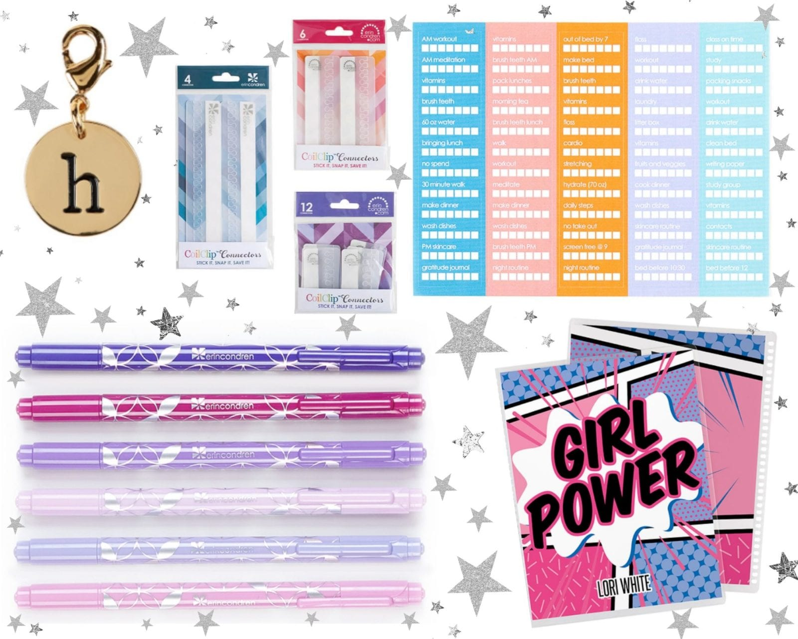 this image is a collage of the various products we talked about in this post including stickers, felt-tip markers, the life planner from Erin Condren, planner charms, and various planner accessories!