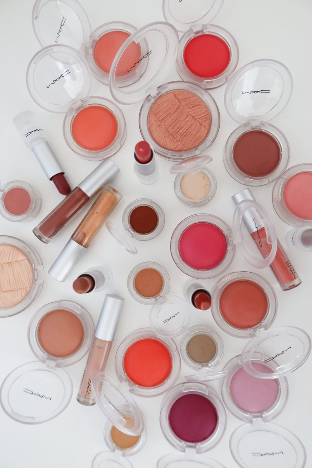 This is a flat lay of the entire new MAC Cosmetics beauty collection.