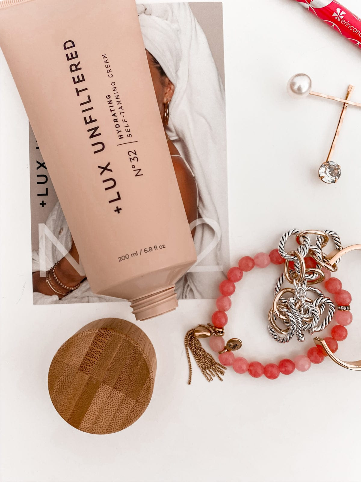 This is a flat lay photo of the Lux Unfiltered Gradual Tan from Sivan Ayla.