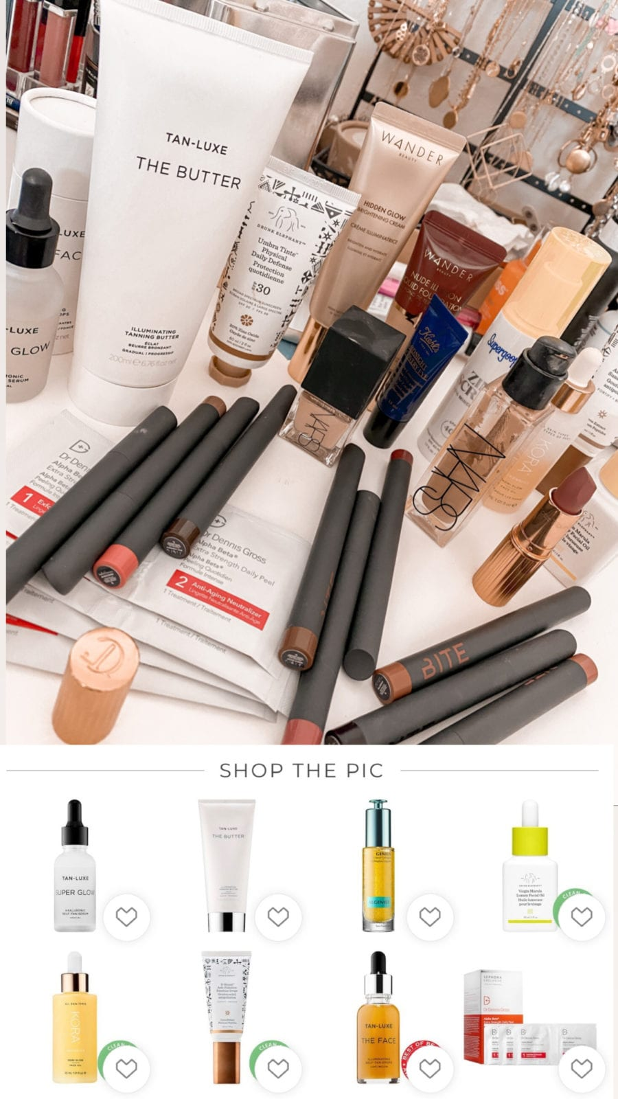 This is a flat lay of Adaleta Avdic's favorite Sephora products, while also including a screenshot from LikeToKnowIt.